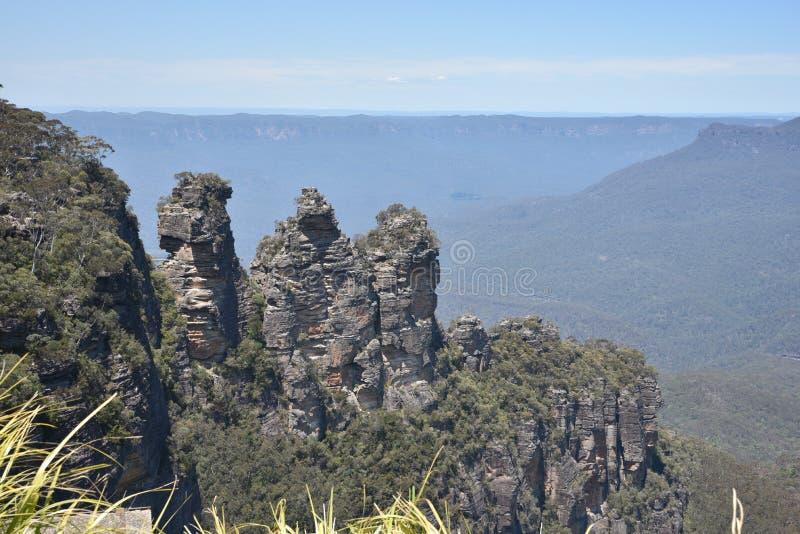 Οι τρεις αδελφές από το σημείο ηχούς, μπλε εθνικό πάρκο βουνών, NSW, Αυστραλία στοκ εικόνες