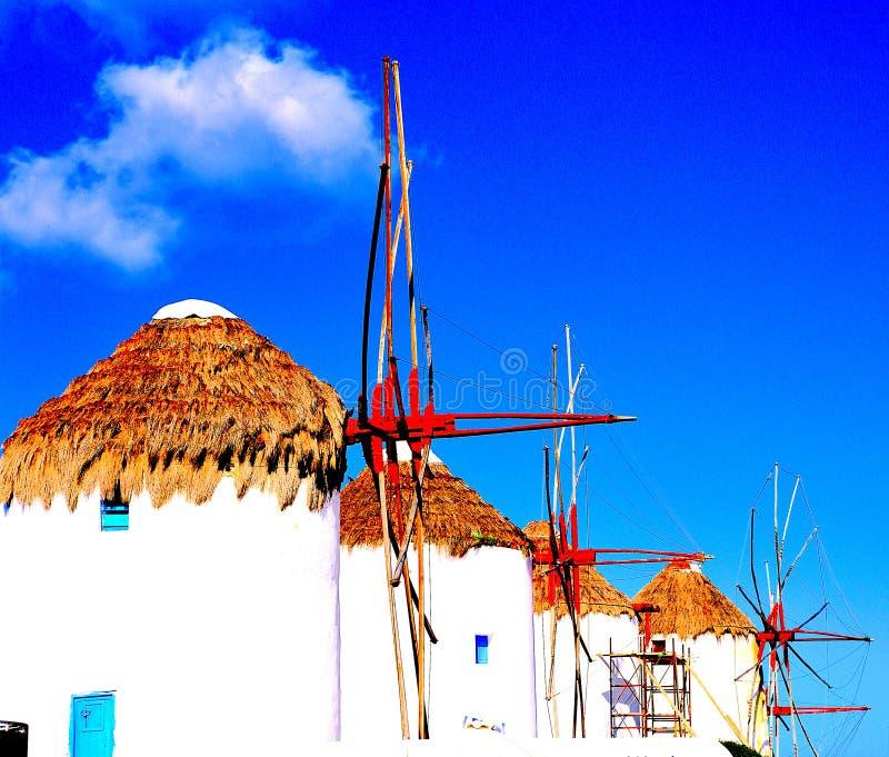 Οι τρεις διάσημοι ανεμόμυλοι της Μυκόνου, Ελλάδα στοκ εικόνες