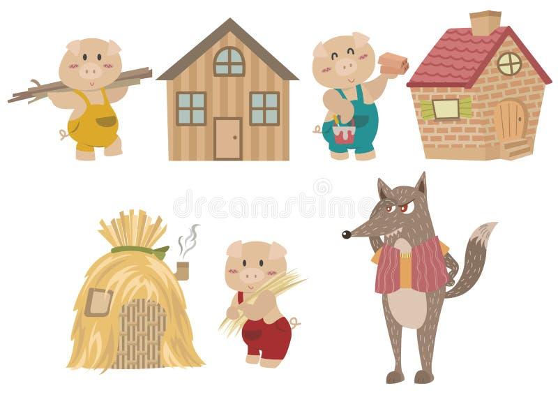 Οι τρεις μικροί χαρακτήρες χοίρων απεικόνιση αποθεμάτων