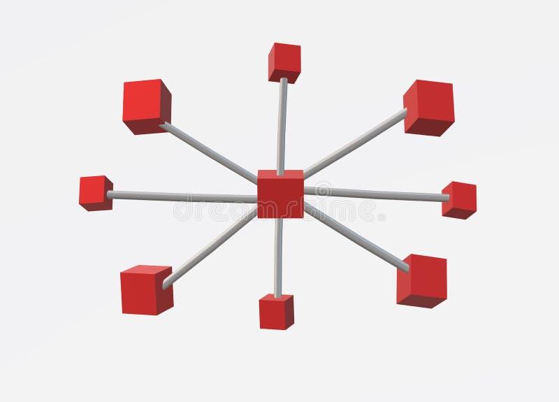 οι τρισδιάστατοι κύβοι α παγκόσμιο δίκτυο 3 υπολογιστών διανυσματική απεικόνιση
