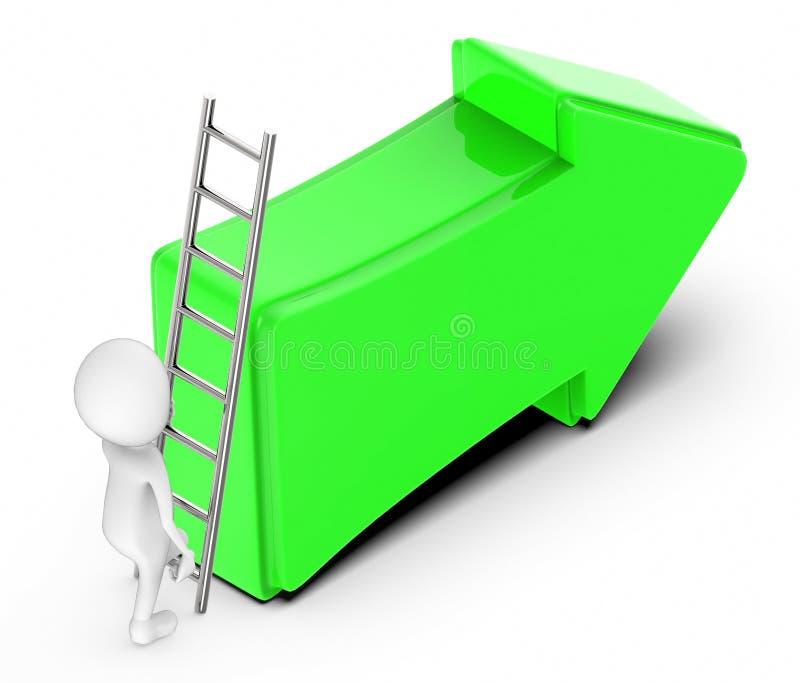 οι τρισδιάστατοι λευκοί άνθρωποι αναρριχούνται επάνω με τη βοήθεια μιας σκάλας προς ένα πράσινο κατευθυντικό βέλος ελεύθερη απεικόνιση δικαιώματος