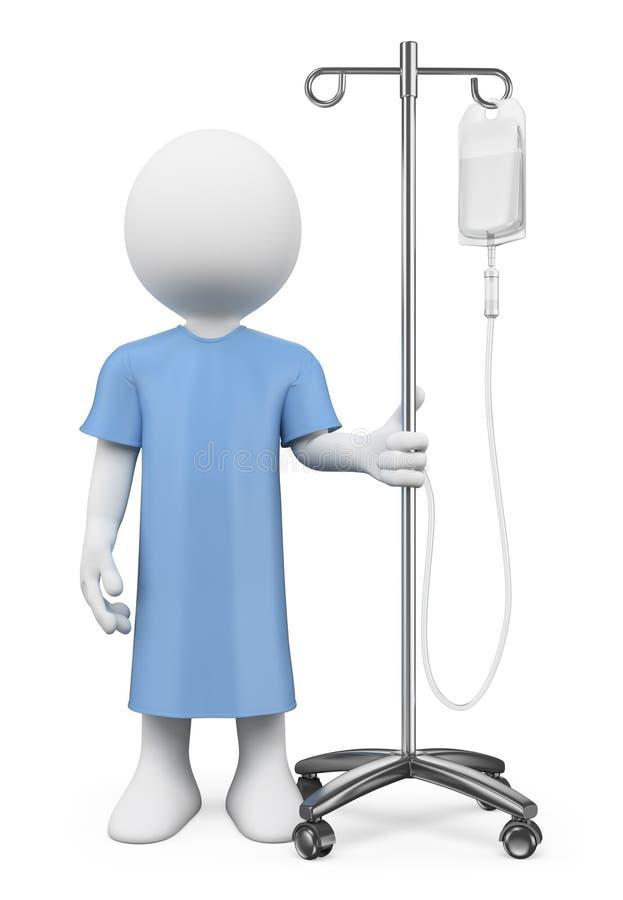 οι τρισδιάστατοι άνθρωποι εξετάζουν το λευκό Ασθενής στο νοσοκομείο με τον ορό ελεύθερη απεικόνιση δικαιώματος