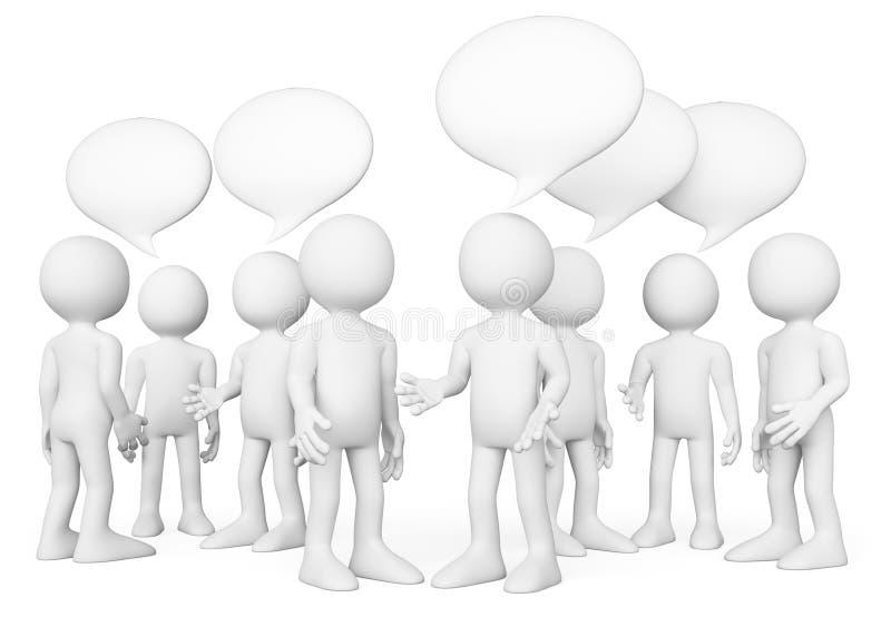 οι τρισδιάστατοι άνθρωποι εξετάζουν το λευκό ομιλία ανθρώπων ομάδας έννοιας επικοινωνίας γκρίζο lap-top κλίσης έννοιας συνομιλίας διανυσματική απεικόνιση