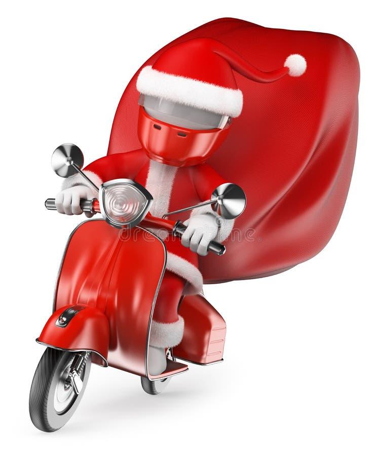 οι τρισδιάστατοι άνθρωποι εξετάζουν το λευκό Santa που παραδίδει τα δώρα με τη μοτοσικλέτα απεικόνιση αποθεμάτων