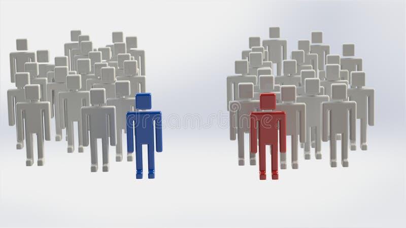 οι τρισδιάστατοι άνθρωποι ομάδων δίνουν δύο απεικόνιση αποθεμάτων