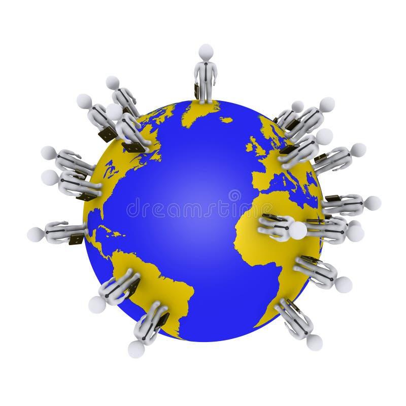 Επιχειρηματίες γύρω από τη γη ελεύθερη απεικόνιση δικαιώματος