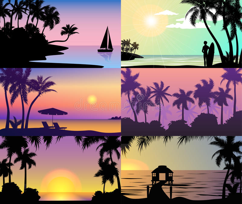 Οι τροπικοί φοίνικες φύσης διακοπών ηλιοβασιλέματος θερινής νύχτας σκιαγραφούν το τοπίο παραλιών των διακοπών νησιών παραδείσου διανυσματική απεικόνιση