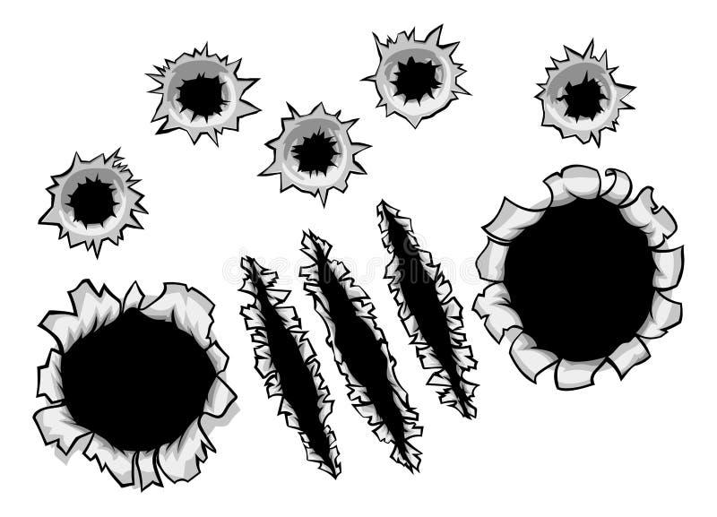 Οι τρύπες από σφαίρα και το νύχι έσχισαν το σχισμένο υπόβαθρο διανυσματική απεικόνιση