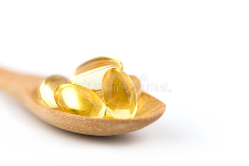 Οι υγιείς βιταμίνες, Omega 3, που απομονώνεται, έχουν ένα άσπρο υπόβαθρο διάστημα αντιγράφων στοκ εικόνες