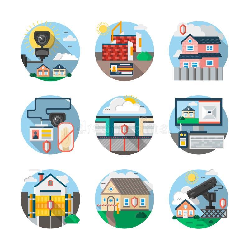 Οι υπηρεσίες ασφάλειας χρωματίζουν τα λεπτομερή εικονίδια καθορισμένα απεικόνιση αποθεμάτων