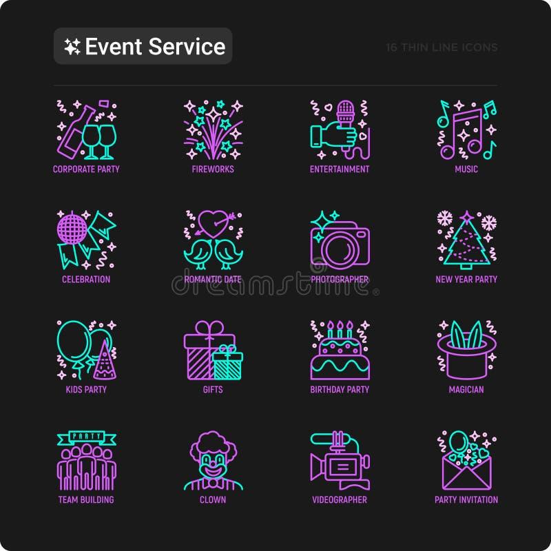 Οι υπηρεσίες γεγονότος λεπταίνουν τα εικονίδια γραμμών καθορισμένα: κόμμα παιδιών, δώρα, γενέθλια, μάγος, κλόουν, videographer, π απεικόνιση αποθεμάτων