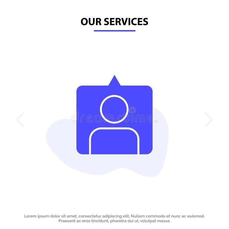 Οι υπηρεσίες μας έρχονται σε επαφή με, Instagram, θέτουν το στερεό πρότυπο καρτών Ιστού εικονιδίων Glyph απεικόνιση αποθεμάτων
