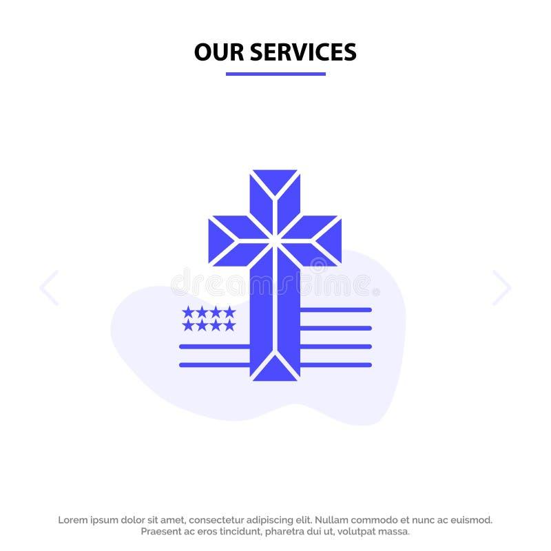 Οι υπηρεσίες μας αμερικανικά, διαγώνιος, στερεό πρότυπο καρτών Ιστού εικονιδίων Glyph εκκλησιών ελεύθερη απεικόνιση δικαιώματος