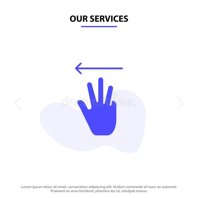 Οι υπηρεσίες μας δίνουν, δίνουν το δρομέα, επάνω, αριστερό στερεό πρότυπο καρτών Ιστού εικονιδίων Glyph ελεύθερη απεικόνιση δικαιώματος