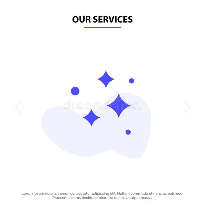 Οι υπηρεσίες μας καθαρίζουν, καθαρισμός, τακτοποιημένος, πλύσιμο, που πλένει το στερεό πρότυπο καρτών Ιστού εικονιδίων Glyph ελεύθερη απεικόνιση δικαιώματος