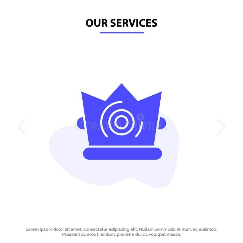 Οι υπηρεσίες μας καλύτερες, κορώνα, βασιλιάς, στερεό Glyph πρότυπο καρτών Ιστού εικονιδίων Madrigal ελεύθερη απεικόνιση δικαιώματος