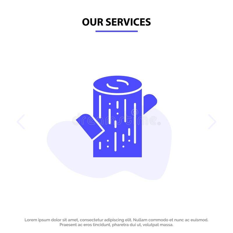 Οι υπηρεσίες μας καταγράφουν, ξυλεία, ξύλινο στερεό πρότυπο καρτών Ιστού εικονιδίων Glyph διανυσματική απεικόνιση