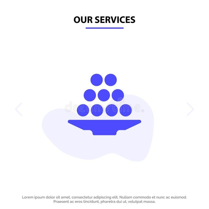 Οι υπηρεσίες μας κυλούν, λιχουδιά, επιδόρπιο, Ινδός, Laddu, γλυκό, μεταχειρίζονται το στερεό πρότυπο καρτών Ιστού εικονιδίων Glyp ελεύθερη απεικόνιση δικαιώματος