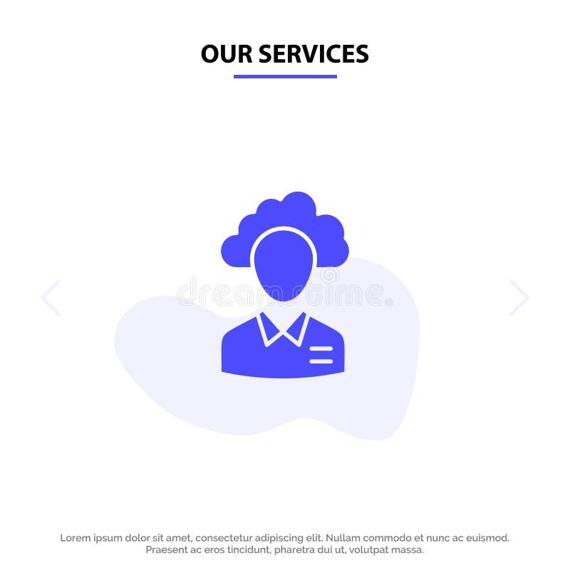 Οι υπηρεσίες μας μεταφέρουν, καλύπτουν, άνθρωπος, διαχείριση, διευθυντής, άνθρωποι, στερεό πρότυπο καρτών Ιστού εικονιδίων Glyph  ελεύθερη απεικόνιση δικαιώματος