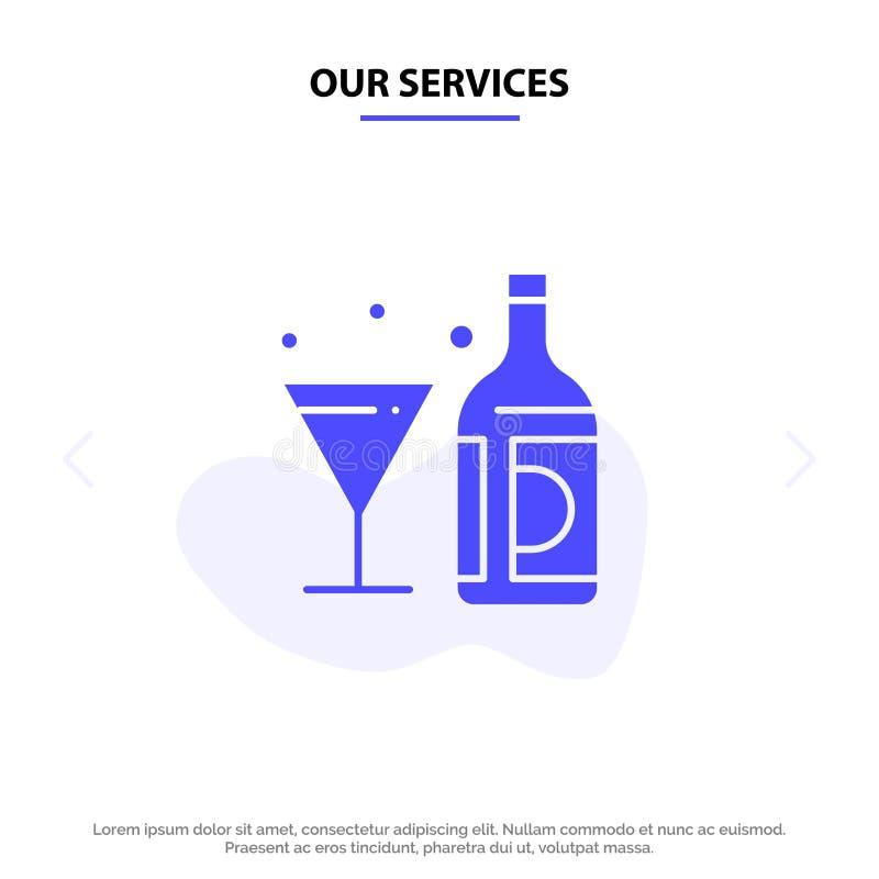 Οι υπηρεσίες μας πίνουν, κρασί, Αμερικανός, μπουκάλι, στερεό πρότυπο καρτών Ιστού εικονιδίων Glyph γυαλιού απεικόνιση αποθεμάτων