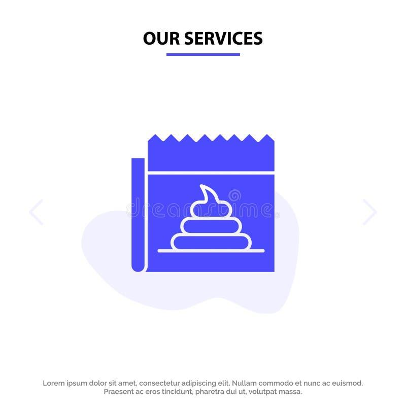 Οι υπηρεσίες μας που διαφημίζουν, απομίμηση, εξαπάτηση, δημοσιογραφία, στερεό πρότυπο καρτών Ιστού εικονιδίων Glyph ειδήσεων διανυσματική απεικόνιση
