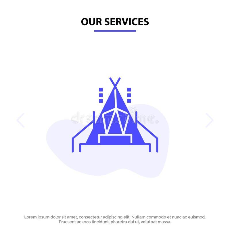 Οι υπηρεσίες μας στρατοπεδεύουν, σκηνή, πρότυπο καρτών Ιστού εικονιδίων στρατοπέδευσης στερεό Glyph ελεύθερη απεικόνιση δικαιώματος