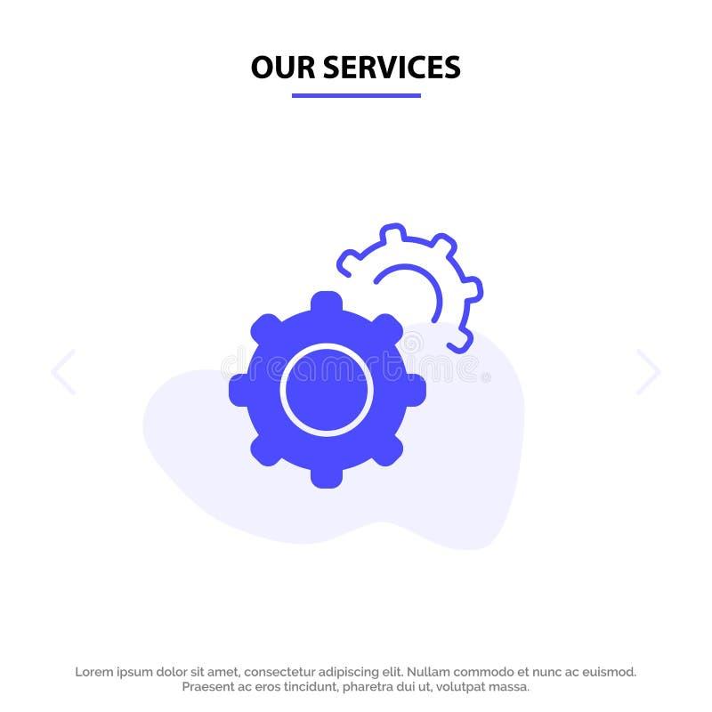 Οι υπηρεσίες μας συνδέουν, εργαλεία, θέτοντας το στερεό πρότυπο καρτών Ιστού εικονιδίων Glyph απεικόνιση αποθεμάτων