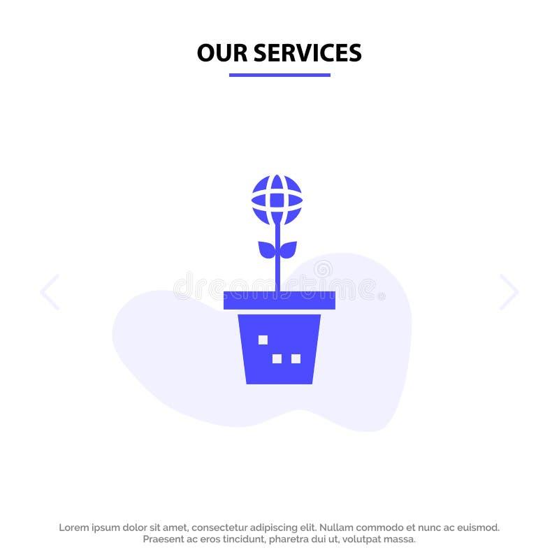 Οι υπηρεσίες μας Eco, περιβάλλον, φόρμα, φύση, στερεό πρότυπο καρτών Ιστού εικονιδίων Glyph εγκαταστάσεων ελεύθερη απεικόνιση δικαιώματος