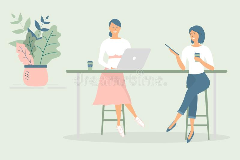 Οι φίλοι ή οι συνάδελφοι γυναικών που κάθονται στο γραφείο στο σύγχρονο γραφείο ή τον καφέ, που λειτουργεί στο σημειωματάριο και  απεικόνιση αποθεμάτων