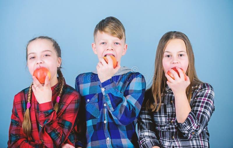 Οι φίλοι αγοριών και κοριτσιών τρώνε το πρόχειρο φαγητό μήλων t E Φάτε τα φρούτα και να είστε στοκ φωτογραφίες