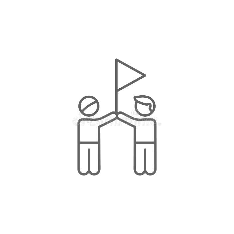 οι φίλοι σημαιοστολίζουν το εικονίδιο περιλήψεων επιτυχίας Στοιχεία του εικονιδίου γραμμών φιλίας Τα σημάδια, τα σύμβολα και τα δ απεικόνιση αποθεμάτων
