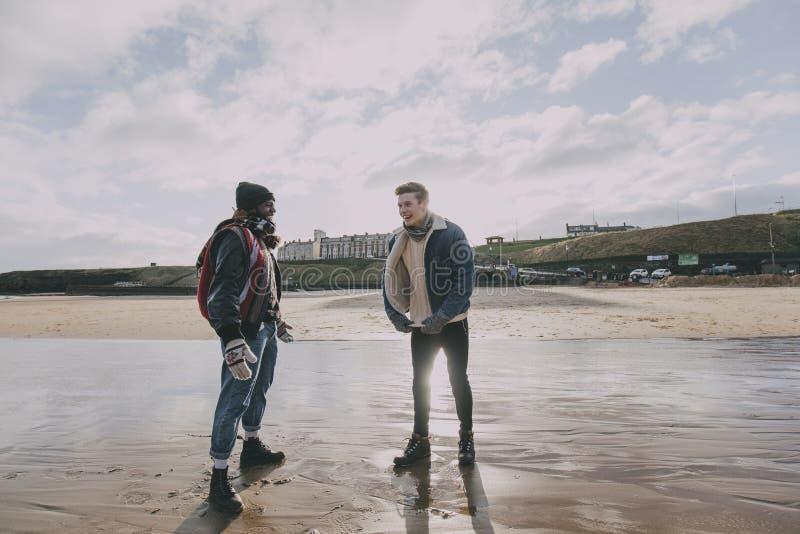 Οι φίλοι στέκονται και μιλούν σε μια χειμερινή παραλία στοκ εικόνες με δικαίωμα ελεύθερης χρήσης