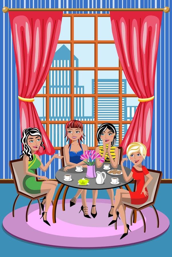 Οι φίλοι γυναικών γυναικών που κουβεντιάζουν τον καφέ χαλαρώνουν τον καφέ διανυσματική απεικόνιση