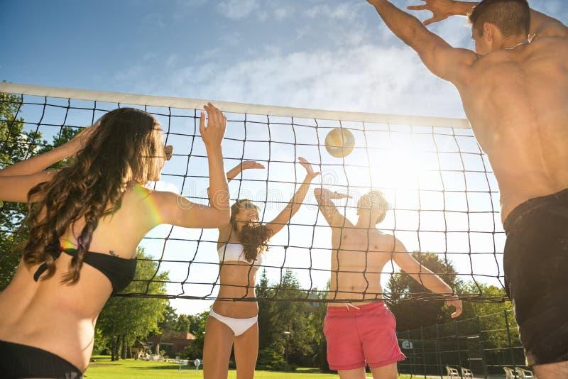 Οι φίλοι παίζουν την πετοσφαίριση στην παραλία στοκ φωτογραφίες με δικαίωμα ελεύθερης χρήσης