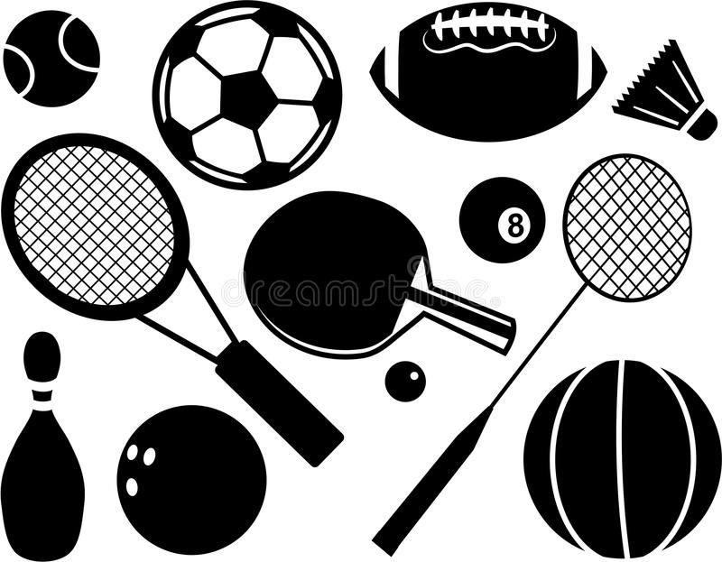 οι φορείς εικονιδίων ποδοσφαίρου σφαιρών σκιαγραφούν τον αθλητισμό δύο διανυσματική απεικόνιση