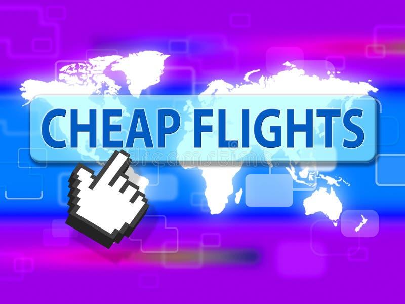 Οι φτηνές πτήσεις δείχνουν το αεροπλάνο και τα αεροσκάφη μυγών διανυσματική απεικόνιση