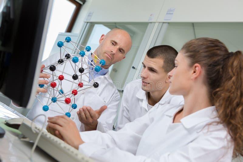 Οι χαμογελώντας επιστήμονες που εργάζονται με το DNA διαμορφώνουν στο εργαστήριο στοκ φωτογραφία με δικαίωμα ελεύθερης χρήσης
