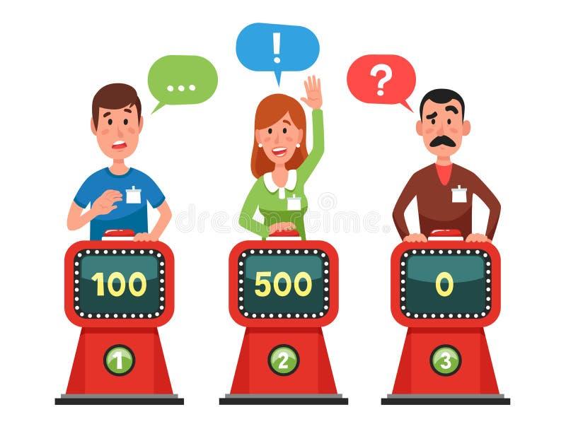 Οι χαρακτήρες απαντούν η ερώτηση ότι εξέτασης στο διάνοια παρουσιάζει Πιέζοντας κουμπί και απάντηση των ερωτήσεων διαγωνισμοου γν διανυσματική απεικόνιση