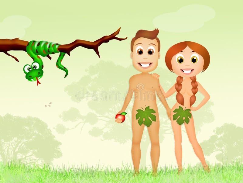 οι χαρακτήρες κινουμένων σχεδίων μήλων Adam αναστατώνουν απαγορευμένο κήπο καρπού Ίντεν Eva τον παραμονή θέλουν διανυσματική απεικόνιση