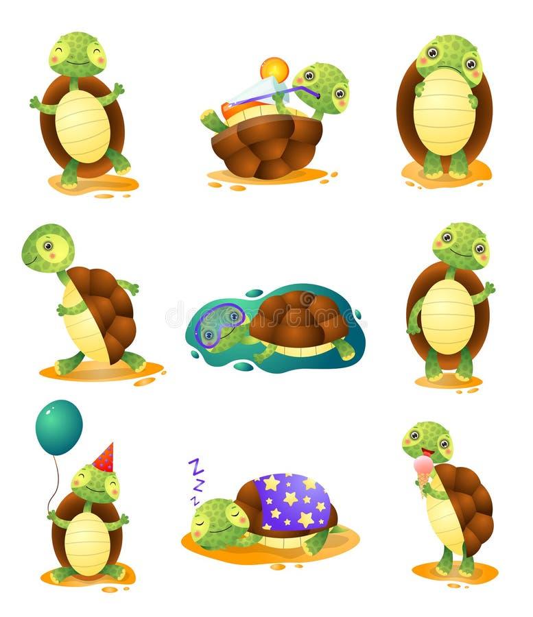 Οι χαριτωμένες αστείες χελώνες σε διαφορετικό θέτουν το σύνολο που απομονώνεται στο άσπρο υπόβαθρο ελεύθερη απεικόνιση δικαιώματος