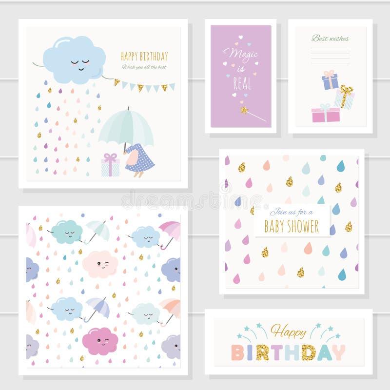 Οι χαριτωμένες κάρτες με το χρυσό ακτινοβολούν στοιχεία για τα κορίτσια Για το ντους μωρών, γενέθλια, ενδύματα μωρών, κάλυψη σημε διανυσματική απεικόνιση