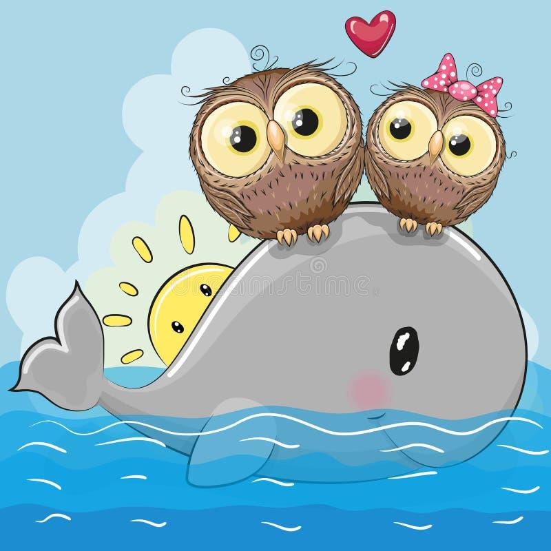Οι χαριτωμένες κουκουβάγιες κινούμενων σχεδίων κάθονται στη φάλαινα απεικόνιση αποθεμάτων