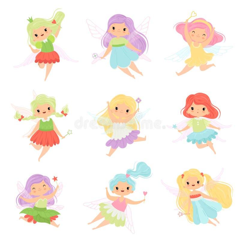 Οι χαριτωμένες μικρές νεράιδες στα ζωηρόχρωμα φορέματα θέτουν, όμορφη φτερωτή πετώντας διανυσματική απεικόνιση κοριτσιών ελεύθερη απεικόνιση δικαιώματος