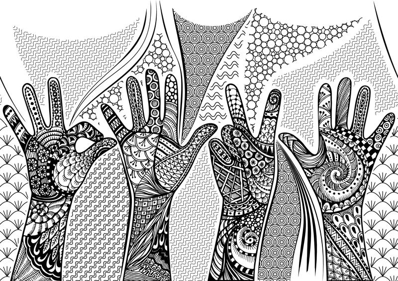 Οι χειρονομίες Zentandle δίνουν τα άνευ ραφής σύνορα Συρμένη χέρι doodle διανυσματική απεικόνιση απεικόνιση αποθεμάτων