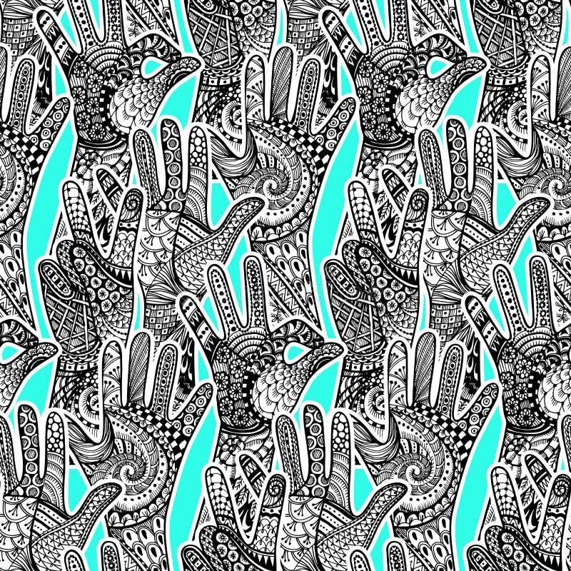 Οι χειρονομίες Zentandle δίνουν το άνευ ραφής σχέδιο Συρμένο χέρι διανυσματικό doo διανυσματική απεικόνιση