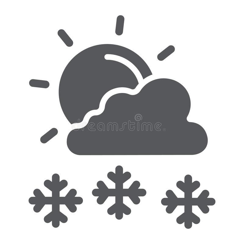 Οι χιονοπτώσεις στο ηλιόλουστο εικονίδιο ημέρας glyph, ο καιρός και η πρόβλεψη, ο ήλιος και το χιόνι υπογράφουν, διανυσματική γρα ελεύθερη απεικόνιση δικαιώματος