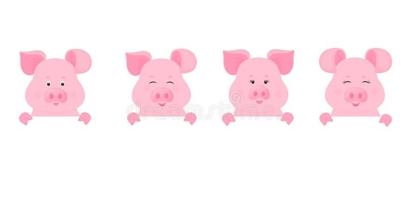 Οι χοίροι κρατούν ένα κενό σημάδι, καθαρό έμβλημα χαριτωμένος piggy ελεύθερη απεικόνιση δικαιώματος