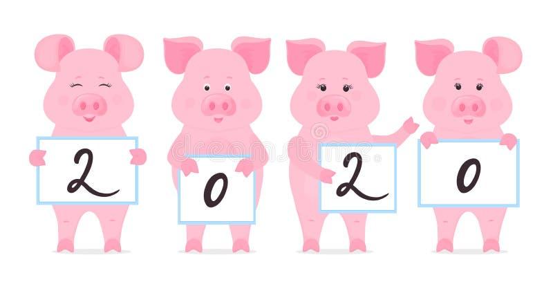 Οι χοίροι κρατούν τα σημάδια με τους αριθμούς το 2020 Κινεζικό νέο έτος ελεύθερη απεικόνιση δικαιώματος
