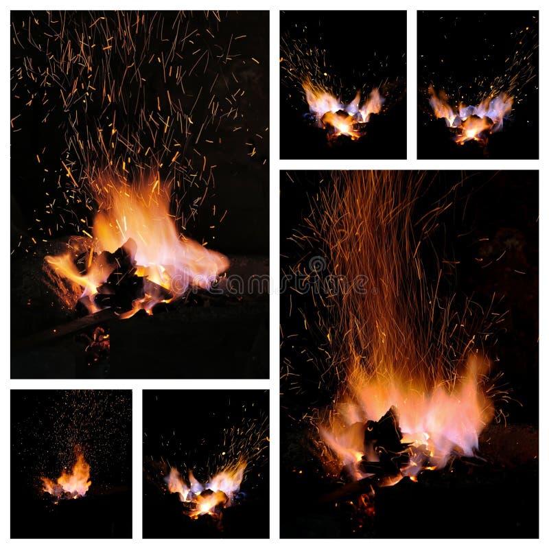 Οι χοβόλεις και οι φλόγες ενός Smith σφυρηλατούν στοκ εικόνες