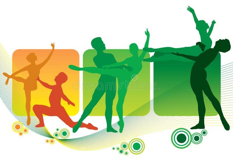 οι χορευτές σκιαγραφού ελεύθερη απεικόνιση δικαιώματος